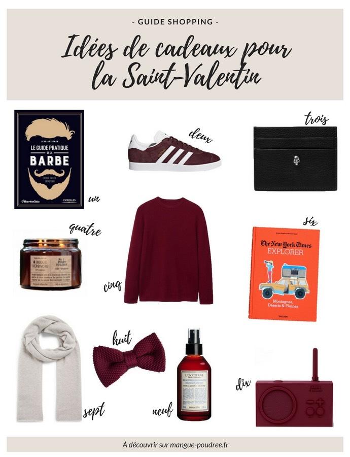 Guide shopping // idées de cadeaux pour la Saint-Valentin pour lui // blog Mangue Poudrée
