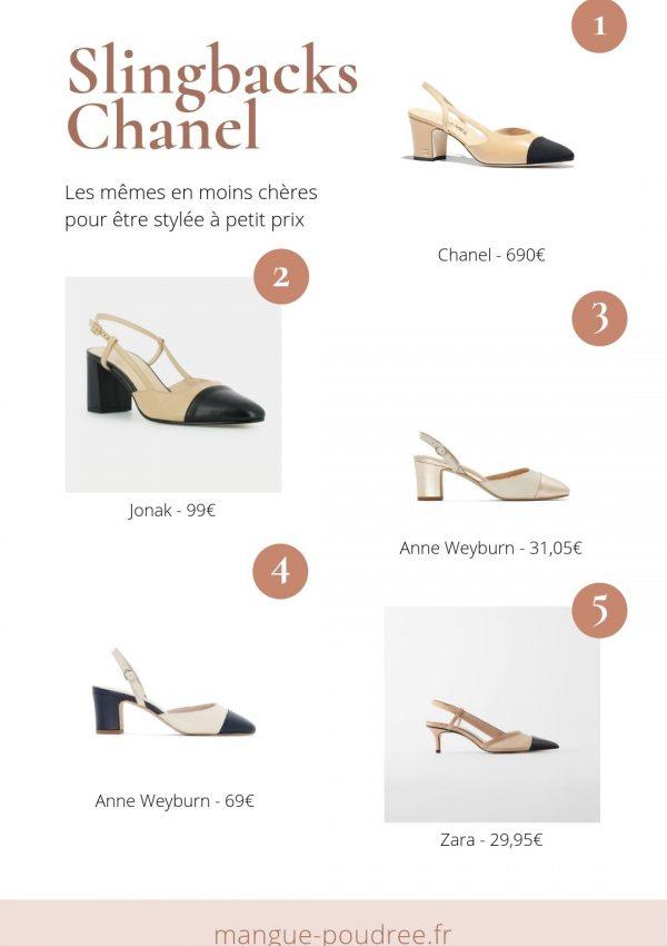 Les mêmes en moins chères - Slingbacks Chanel - dupe pas cher bon plan - Blog Mangue Poudrée - Blog beauté et lifestyle à Reims Paris influenceuse