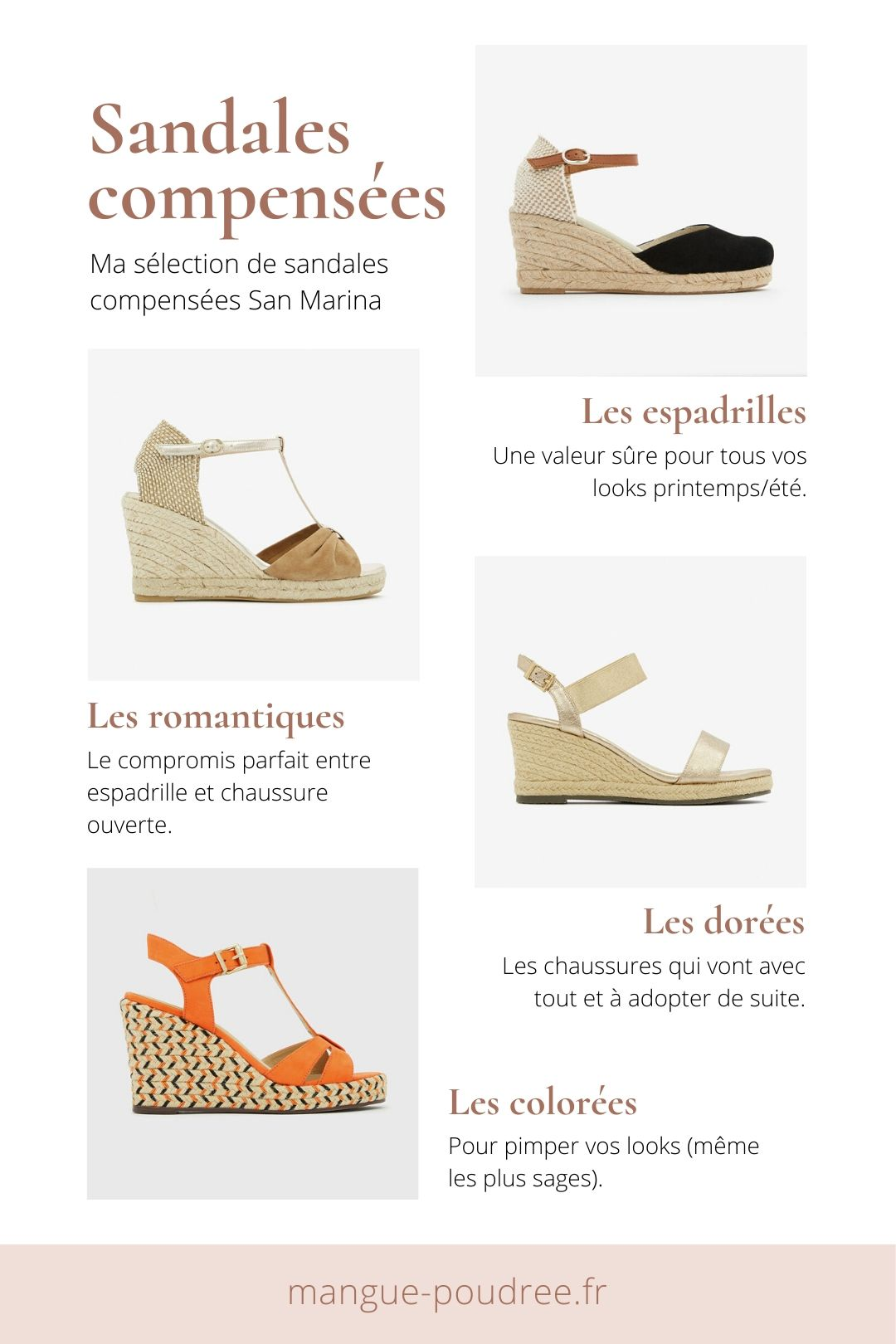 Sélection sandales compensées San Marina - Blog Mangue Poudrée - Blog mode et lifestyle à Reims Paris influenceuse - www.mangue-poudree.fr